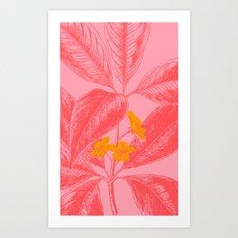 Modern Botanical Leaves in Pink Art Print
