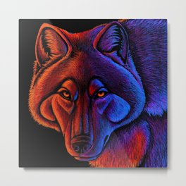 Fire Wolf Colorful Fantasy Animals Metal Print