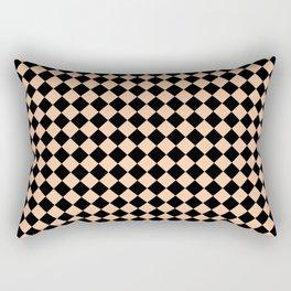 Black and Deep Peach Orange Diamonds Rectangular Pillow