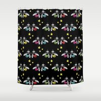 fireflies Shower Curtains featuring Happy fireflies by Petits Pixels