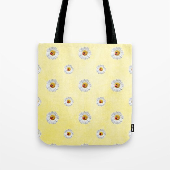 Daisies in love- Yellow Daisy Flower Floral pattern with Ladybug on #Society6 Tote Bag