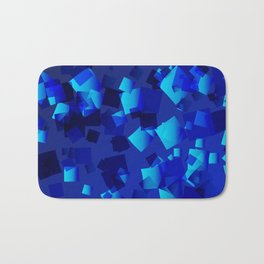 Sea explosive pattern of rhombuses and squares at the depth of the blue ocean. Bath Mat