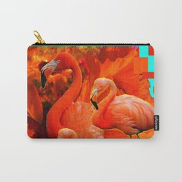 TURQUOISE & RED ART 3 SAFFRON FLAMINGOS Carry-All Pouch