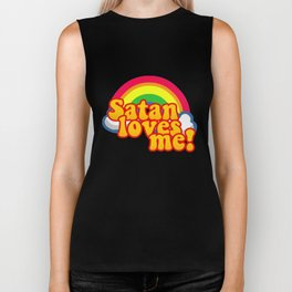 Satan Loves Me Rainbow - Atheism Anti Religion Biker Tank