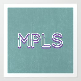 MPLS Minneapolis Minnesota Neon Typography Art Print