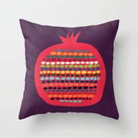 pomegranate Throw Pillows featuring Pomegranate by Picomodi