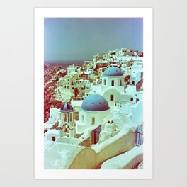 Santorini in Raspberry and Blue: shot using Revolog 600nm special effects film Art Print