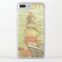 Vintage Nautical Map Lighthouse Clear iPhone Case
