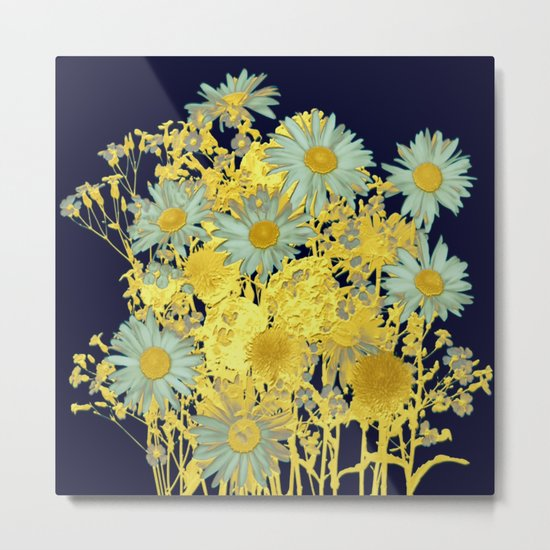blue daisies and gold Metal Print