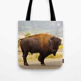Wandering Yellowstone Bison Tote Bag
