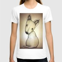 bull terrier T-shirts featuring Bull Terrier Pup by Caroline Blicq