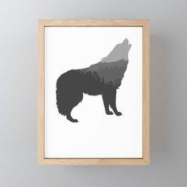 Black Wolf Double Exposure Funny Animal Silhouette Surreal Gift Design Framed Mini Art Print