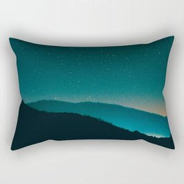 Beautiful Vintage Night Star Sky Turquoise Sky With Mountain Silhouette Rectangular Pillow
