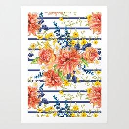 Orange bouquet pattern Art Print