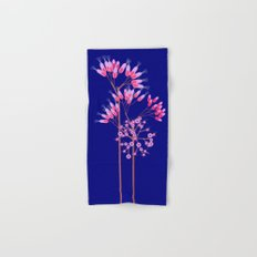 Pink Blossoms on Dark Blue Hand & Bath Towel