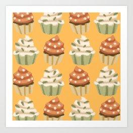 Autumn - White And Orange Cupcakes Art Print