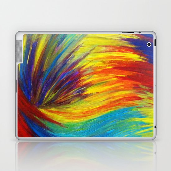 RAINBOW EXPLOSION - Vibrant Smile Happy Colorful Red Bright Blue Sunshine Yellow Abstract Painting  Laptop & iPad Skin