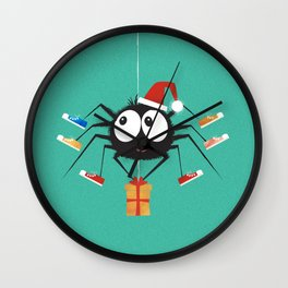 Happy Christmas Santa Spider Wall Clock
