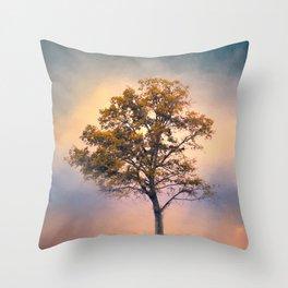 Pastel Skies Cotton Field Tree - Landscape Throw Pillow