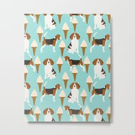 Beagle ice Cream cone summer mint pattern dog portrait beagle owner must haves funny pet dog gifts Metal Print