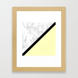 Black and White Marble w/Yellow Framed Art Print