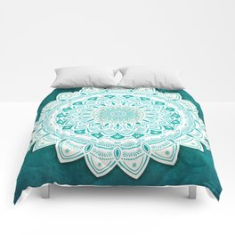 White Mandala on Blue Green Distressed Background with Detail and Textured Comforters