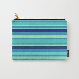 Preppy Stripes - Aqua Blues Carry-All Pouch
