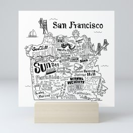 San Francisco Map Illustration Mini Art Print