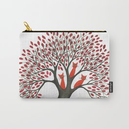 Red Oak Whimsical Cats in Tree Carry-All Pouch