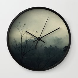 moody fog mountain Wall Clock