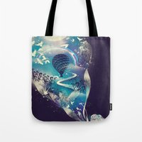 skull Tote Bags featuring Dream Big by dan elijah g. fajardo