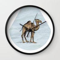 salt water Wall Clocks featuring Camel - salt water by Agustin Flowalistik