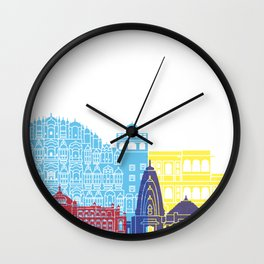 Jaipur skyline pop Wall Clock