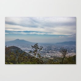 View of the valley from the Regional Park of Monti Lattari, Pompeii and Mount Vesuvius Canvas Print