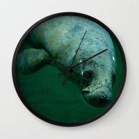 manatee Wall Clocks featuring Manatee by Mariana's ART