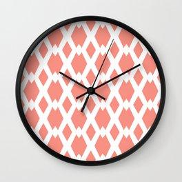 Daffy Lattice Light Coral Wall Clock