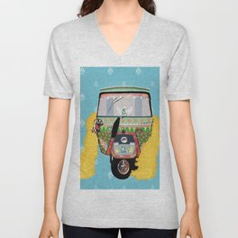 Indian rickshaw illustration Unisex V-Neck