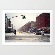 Snowy Day in Greenpoint, Brooklyn Art Print