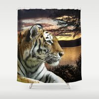 novelty Shower Curtains featuring Sunset Tiger by Moody Muse