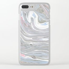 Abstract pink blue gray watercolor marble pattern Clear iPhone Case