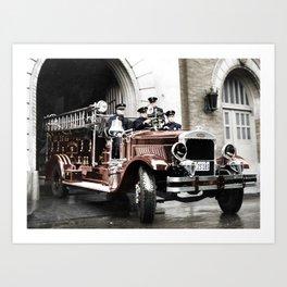 San Francisco Fire Rescue c.1900s - Colourised Art Print