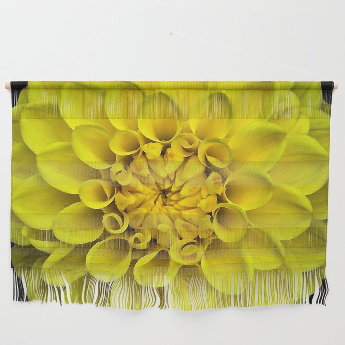 Yellow Dahlia On Black Wall Hanging