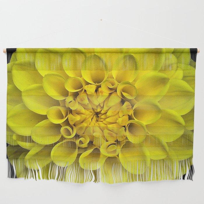 Yellow Dahlia On Black Wall Hanging