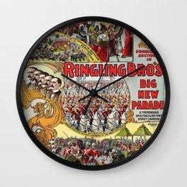 1899 Ringling Brothers Big New Parade Vintage Circus Poster Wall Clock