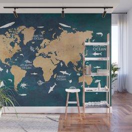 World Map Oceans Life blue #map #world Wall Mural