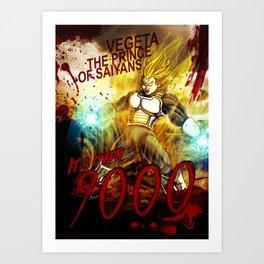 Vegeta Over 9000! Art Print