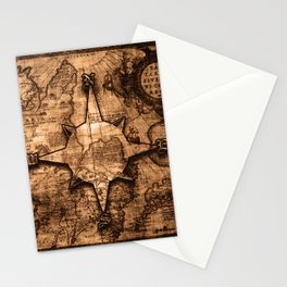 Antique World Map & Compass Rose Stationery Cards