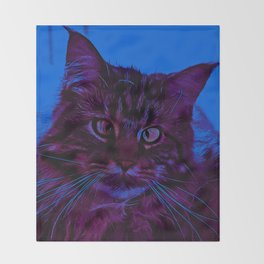 squinting maine coon cat vector art night from day Throw Blanket