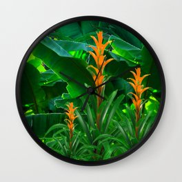 GREEN JUNGLE & TROPICAL CORAL BROMELIAD FLOWERS Wall Clock