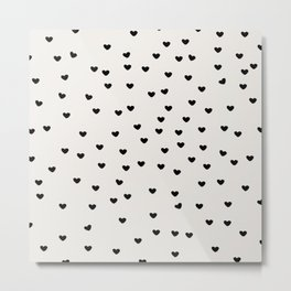 Lots of Little Hearts Brush Strokes Pattern Metal Print